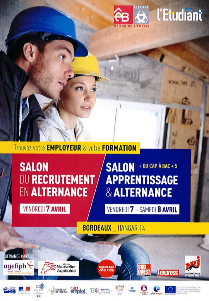 Ecomnews 7 et 8 avril salon de l 39 apprentissage et de l - Salon emploi bordeaux ...